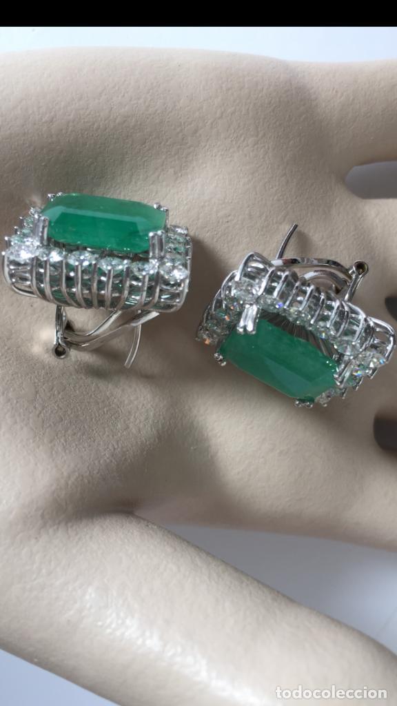 Joyeria: Pendientes de oro blanco 18 Kt con esmeraldas y brillantes - Foto 4 - 107663459