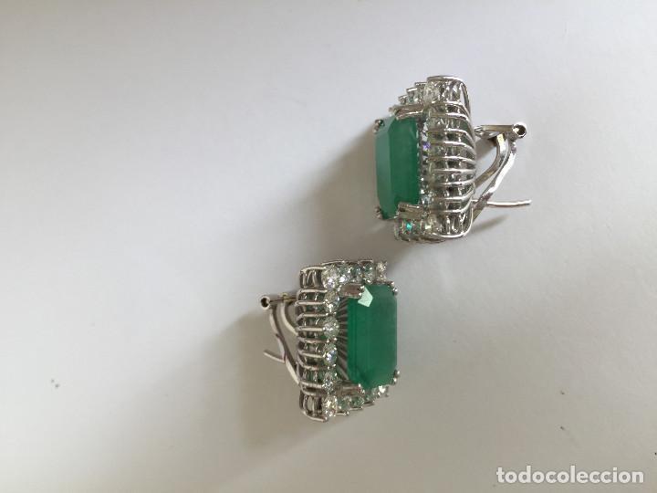 Joyeria: Pendientes de oro blanco 18 Kt con esmeraldas y brillantes - Foto 7 - 107663459