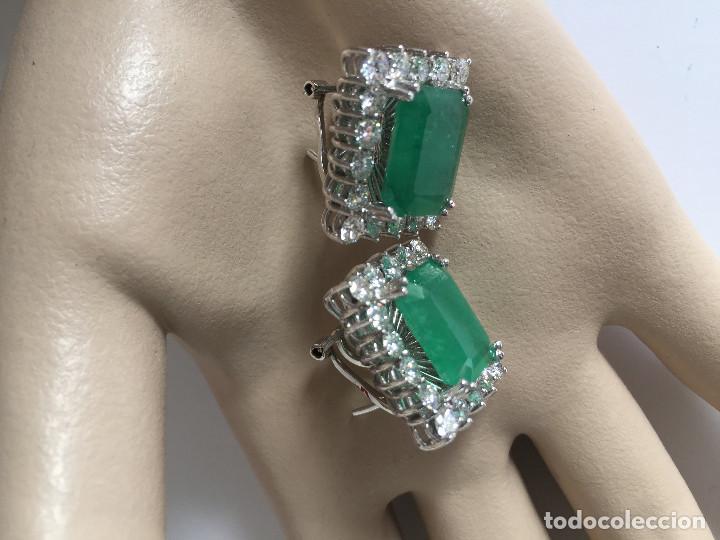 Joyeria: Pendientes de oro blanco 18 Kt con esmeraldas y brillantes - Foto 8 - 107663459
