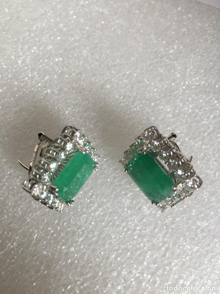 Joyeria: Pendientes de oro blanco 18 Kt con esmeraldas y brillantes - Foto 9 - 107663459