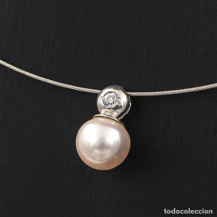 Joyeria: Gargantilla con Colgante Oro blanco con Diamante brillante y Perla Akoya - Foto 2 - 107878731