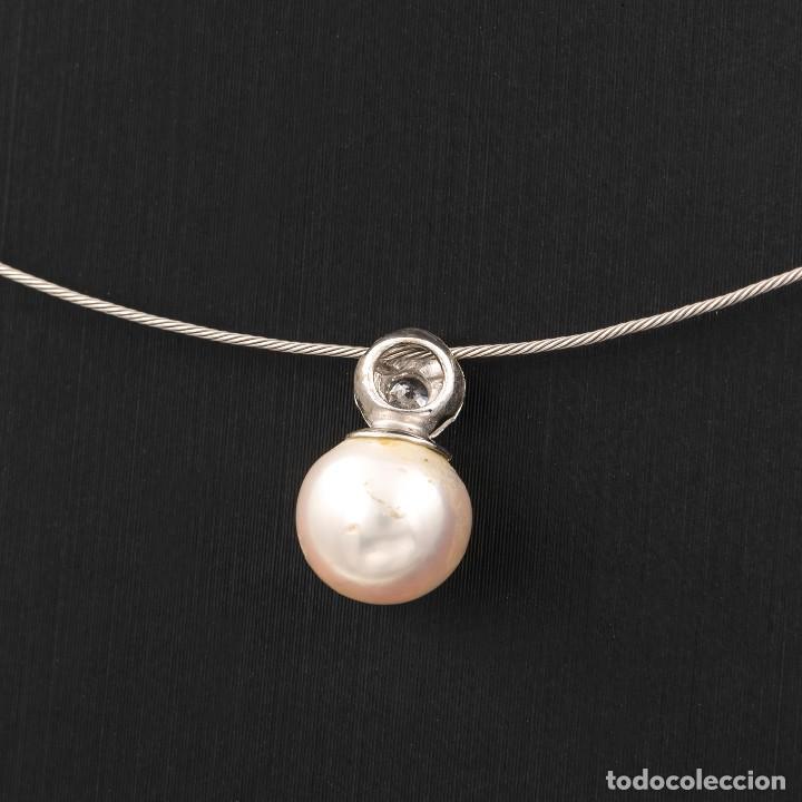 Joyeria: Gargantilla con Colgante Oro blanco con Diamante brillante y Perla Akoya - Foto 3 - 107878731