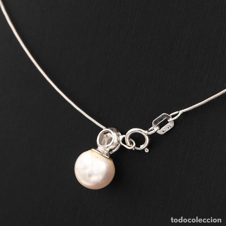 Joyeria: Gargantilla con Colgante Oro blanco con Diamante brillante y Perla Akoya - Foto 4 - 107878731