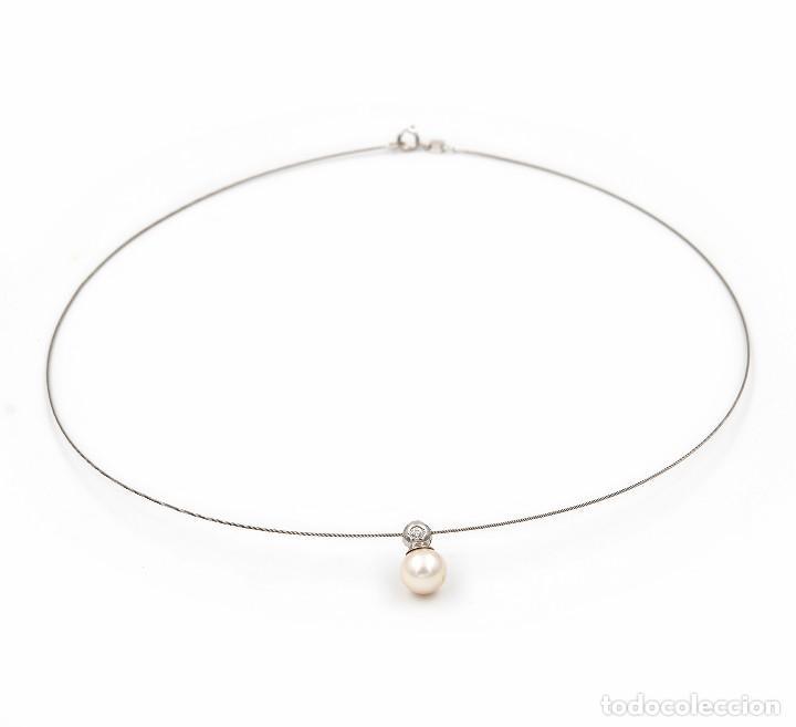 Joyeria: Gargantilla con Colgante Oro blanco con Diamante brillante y Perla Akoya - Foto 6 - 107878731