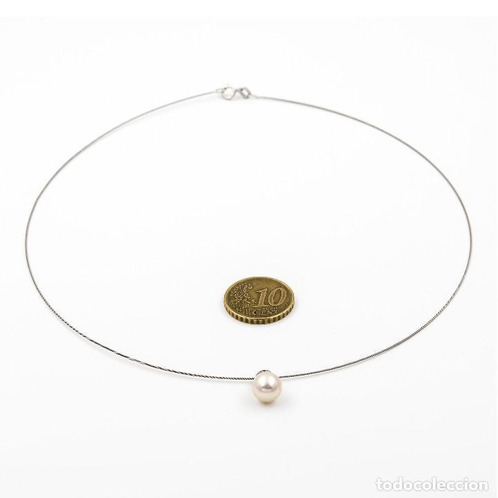 Joyeria: Gargantilla con Colgante Oro blanco con Diamante brillante y Perla Akoya - Foto 7 - 107878731