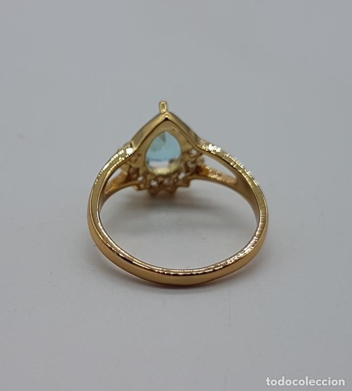 Joyeria: Bella sortija vintage estilo solitario chapado en oro de 18k con circonitas y aguamarina creada . - Foto 6 - 108095355