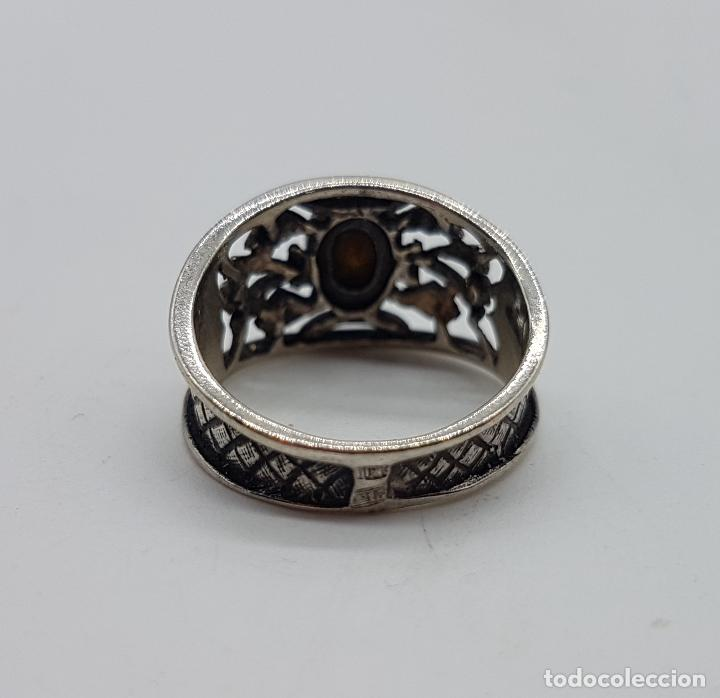 Joyeria: Sortija antigua Victoriano en plata de ley punzonada bellamente labrada con circonita color zafiro . - Foto 5 - 108117219