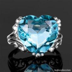 Jewelry - SORTIJA VINTAGE PLATA CON AGUAMARINA AZUL CORAZON - PESO 3,74 GRAMOS TALLA 7 - Nº40 - 108366611