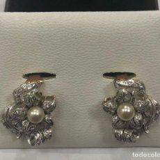 Joyeria - Pendientes antiguos de oro con forma de flor con perla y circon - 108439963