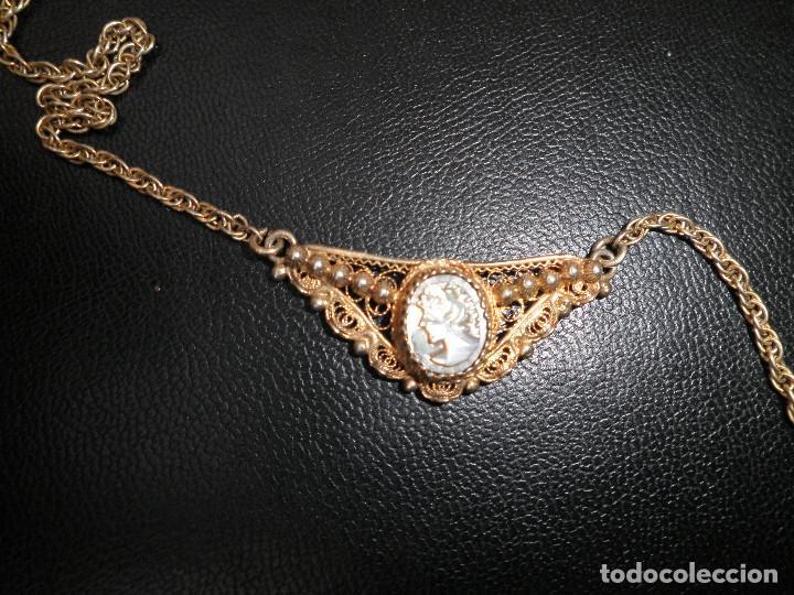 Joyeria: Gargantilla, collar, filigrana plata. Camafeo nácar antiguo principios XX. - Foto 2 - 109280395