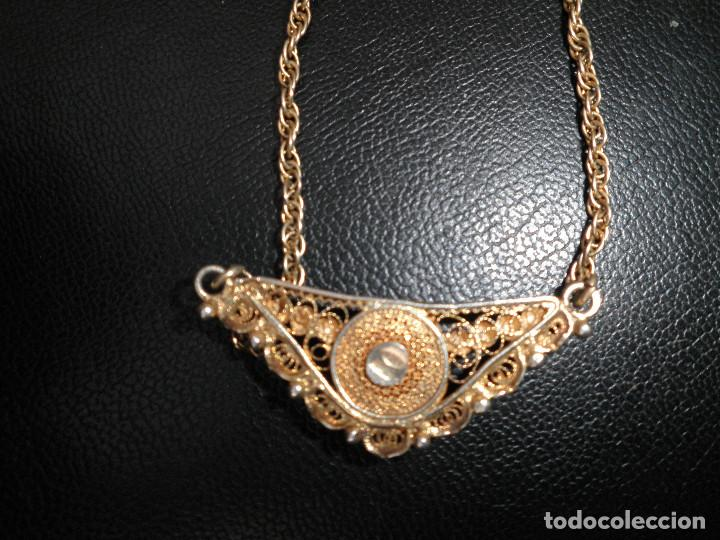 Joyeria: Gargantilla, collar, filigrana plata. Camafeo nácar antiguo principios XX. - Foto 3 - 109280395