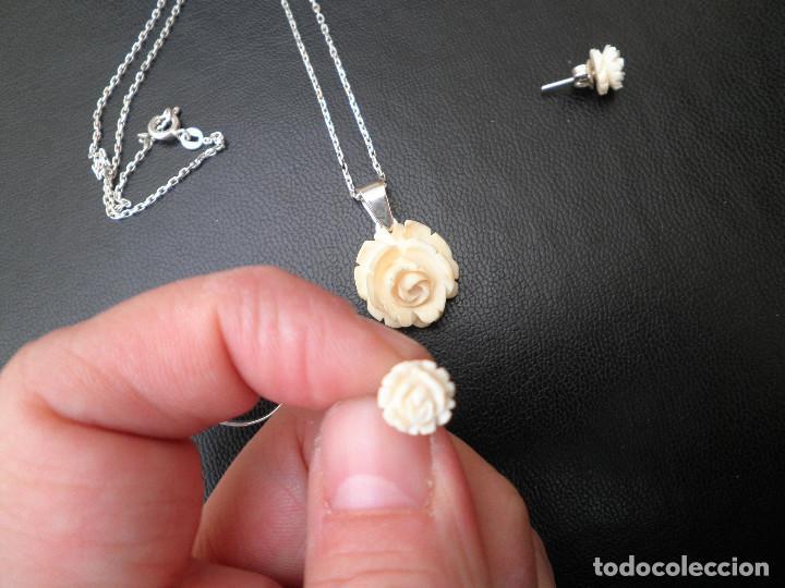 Joyeria: Colgante, pendientes, anillo de plata y rosas de hueso. Aderezo, juego. - Foto 2 - 109282123