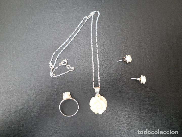 Joyeria: Colgante, pendientes, anillo de plata y rosas de hueso. Aderezo, juego. - Foto 3 - 109282123
