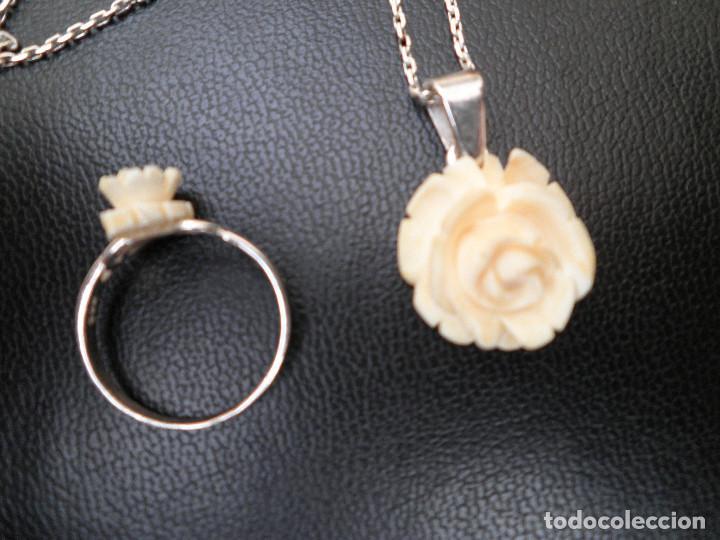 Joyeria: Colgante, pendientes, anillo de plata y rosas de hueso. Aderezo, juego. - Foto 4 - 109282123