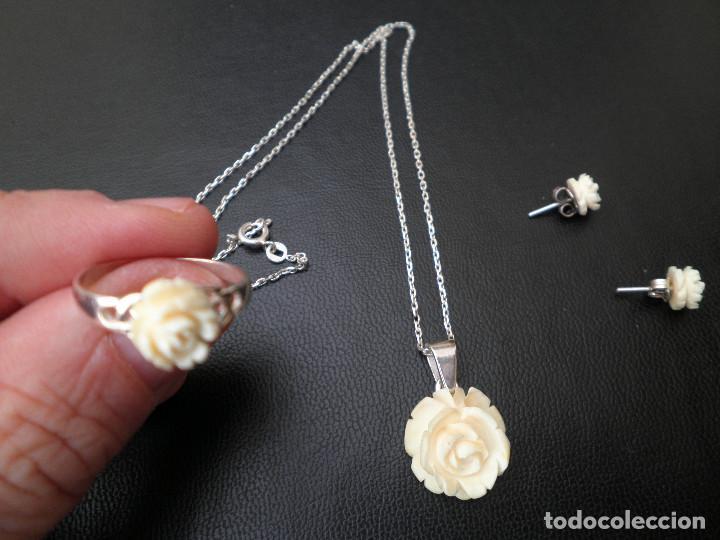Joyeria: Colgante, pendientes, anillo de plata y rosas de hueso. Aderezo, juego. - Foto 5 - 109282123