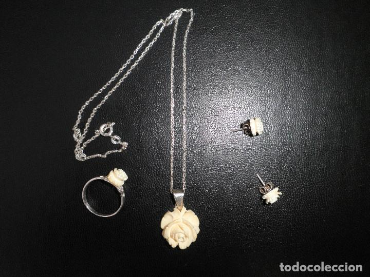 Joyeria: Colgante, pendientes, anillo de plata y rosas de hueso. Aderezo, juego. - Foto 6 - 109282123