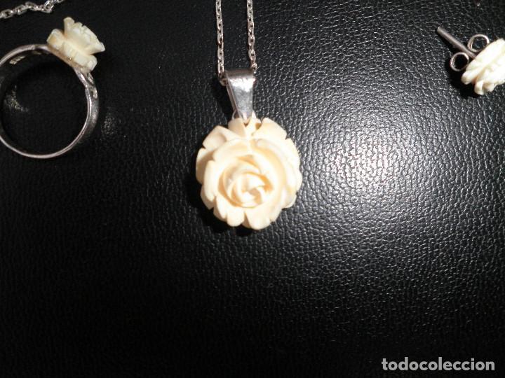 Joyeria: Colgante, pendientes, anillo de plata y rosas de hueso. Aderezo, juego. - Foto 7 - 109282123