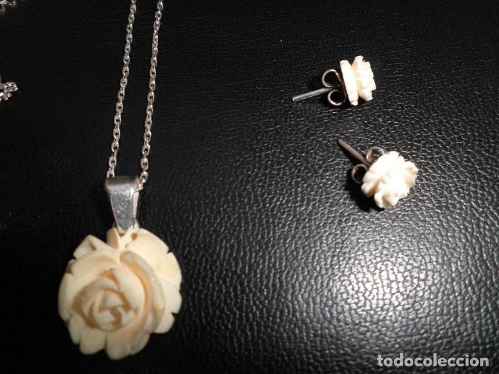 Joyeria: Colgante, pendientes, anillo de plata y rosas de hueso. Aderezo, juego. - Foto 9 - 109282123