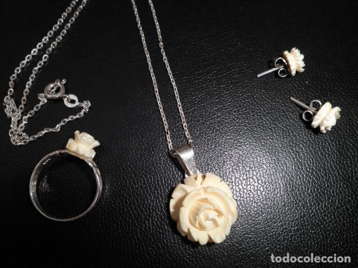 Joyeria: Colgante, pendientes, anillo de plata y rosas de hueso. Aderezo, juego. - Foto 10 - 109282123