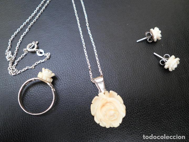 Joyeria: Colgante, pendientes, anillo de plata y rosas de hueso. Aderezo, juego. - Foto 11 - 109282123