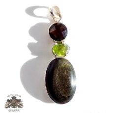 Joyeria: PRECIOSO COLGANTE DE PLATA DE LEY CON PIEDRAS NATURALES 5,5 CM DE LARGO. Lote 109397479