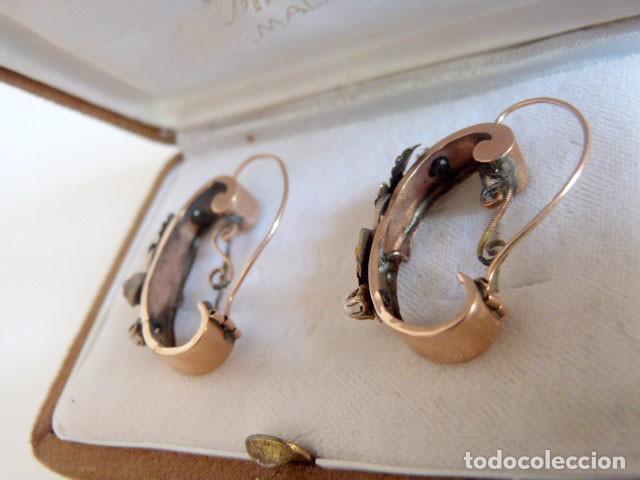 Joyeria: Pendientes antiguos Isabelinos 1850 en oro de 14k y perlas - Foto 4 - 109433075