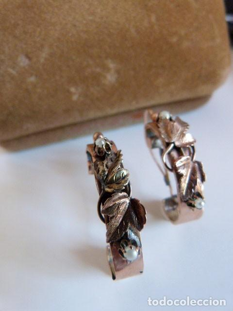 Joyeria: Pendientes antiguos Isabelinos 1850 en oro de 14k y perlas - Foto 5 - 109433075