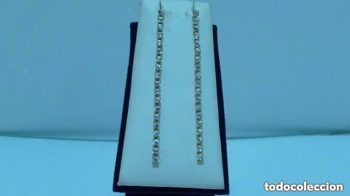 PENDIENTES LARGOS CIRCONITA ORO DE 750MM. (18 KLTS) (Joyería - Pendientes Antiguos)