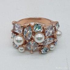 Joyeria - Elegante anillo chapado en oro de ley con perlas y circonitas engarzadas, t - 122135779