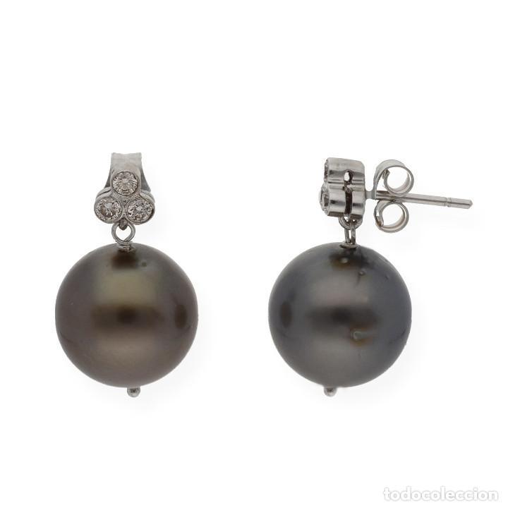 Joyeria: Pendiente Diamantes y Perlas Tahití en Oro de Ley 18K - Foto 2 - 109835207