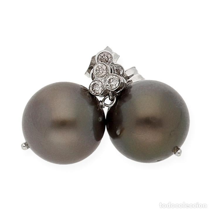 Joyeria: Pendiente Diamantes y Perlas Tahití en Oro de Ley 18K - Foto 3 - 109835207