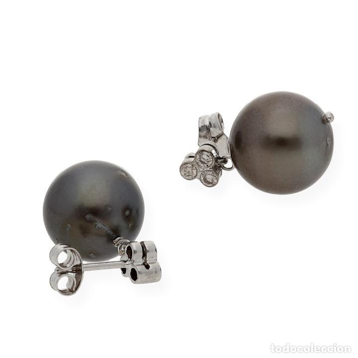 Joyeria: Pendiente Diamantes y Perlas Tahití en Oro de Ley 18K - Foto 5 - 109835207
