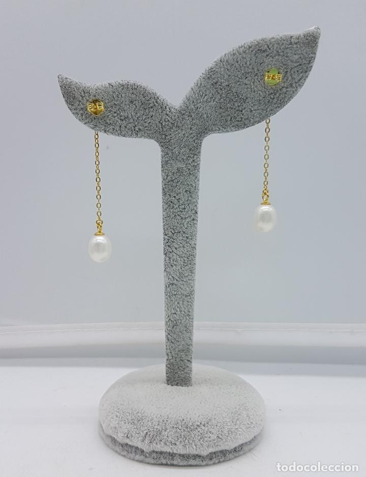 Joyeria: Sofisticados pendientes en plata de ley con baño de oro de 18k y perlas cultivadas de agua dulce . - Foto 4 - 117910934