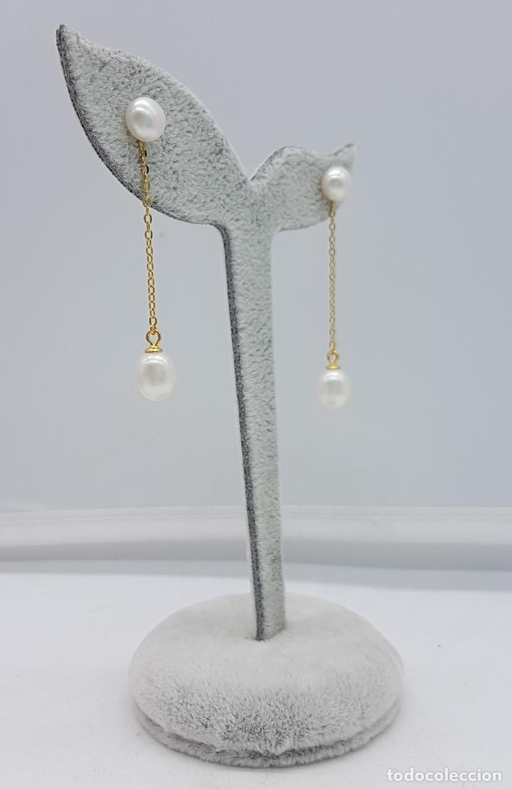 Joyeria: Sofisticados pendientes en plata de ley con baño de oro de 18k y perlas cultivadas de agua dulce . - Foto 5 - 117910934