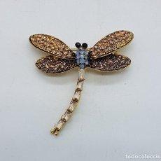 Jewelry - Broche de estilo modernista con acabado en oro viejo, y cristal austriaco en tonos ámbar . - 161407902
