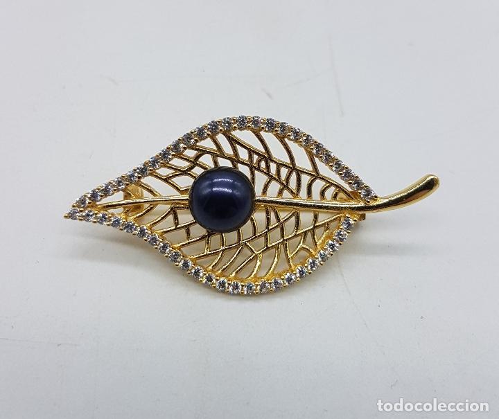 Joyeria: Espectacular broche de estilo modernista en plata de ley, oro de 18k, perla negra y circonitas . - Foto 5 - 283261843