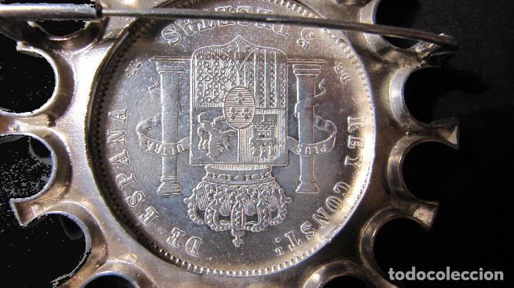 Joyeria: Gran broche plata con moneda Alfonso XII 1878 - Foto 5 - 110363011