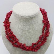 Schmuck - Gargantilla antigua de tres vueltas en coral bambú autentico, teñido en rojo inglés . - 110561335