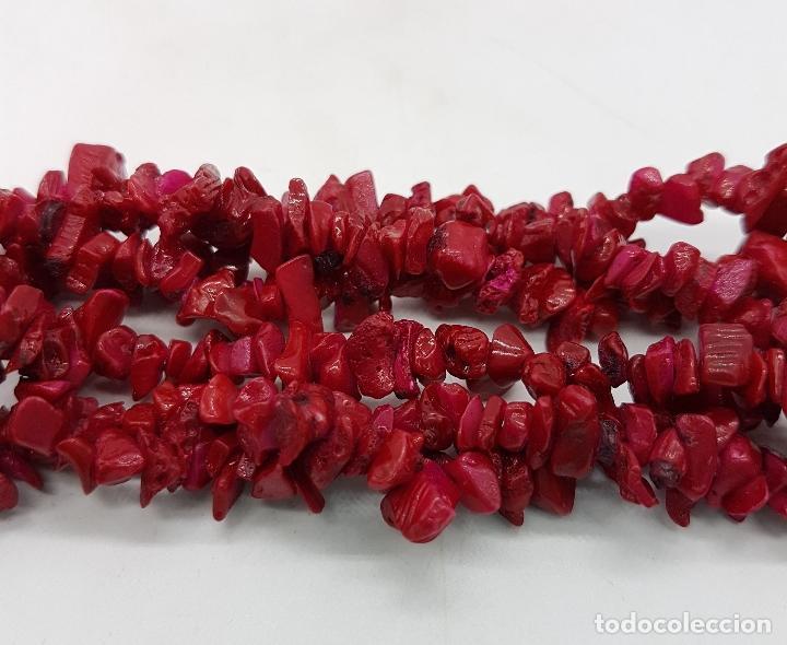 Joyeria: Gargantilla antigua de tres vueltas en coral bambú autentico, teñido en rojo inglés . - Foto 6 - 110561335