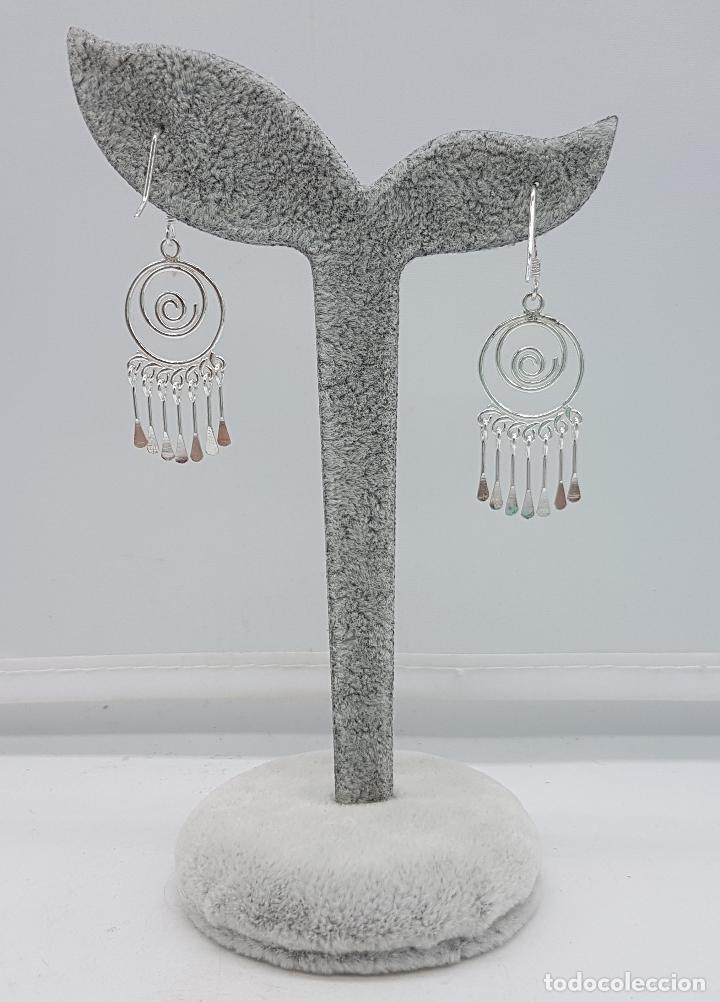 Joyeria: Pendientes vintage en plata de ley contrastada, en forma de espiral, con dijes colgando . - Foto 4 - 110573799