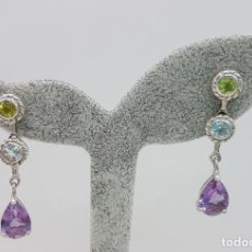 Jewelry - Pendientes vintage en plata de ley punzonada, amatistas, citrinos y peridotos autenticos . - 110574419