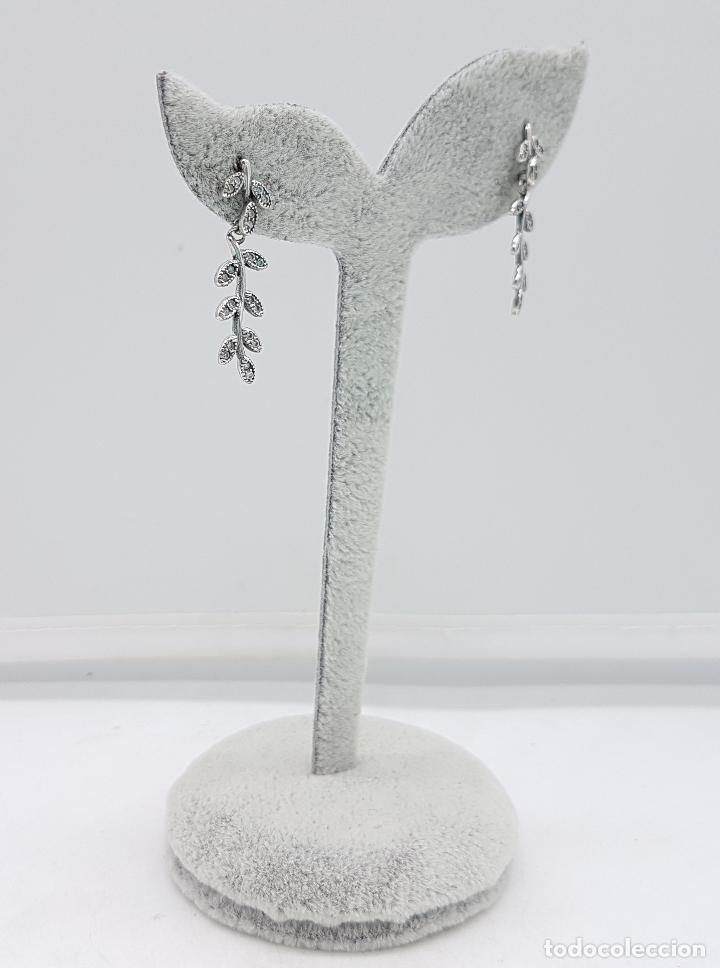 Joyeria: Pendientes vintage en forma de rama laurel en plata de ley contrastada y circonitas talla brillante. - Foto 2 - 110577871