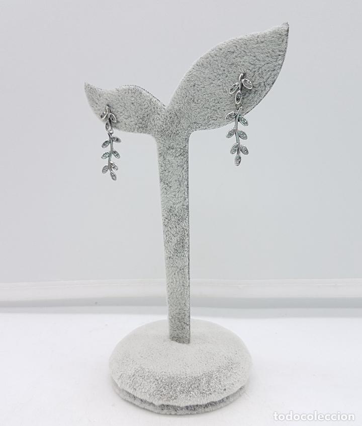 Joyeria: Pendientes vintage en forma de rama laurel en plata de ley contrastada y circonitas talla brillante. - Foto 4 - 110577871