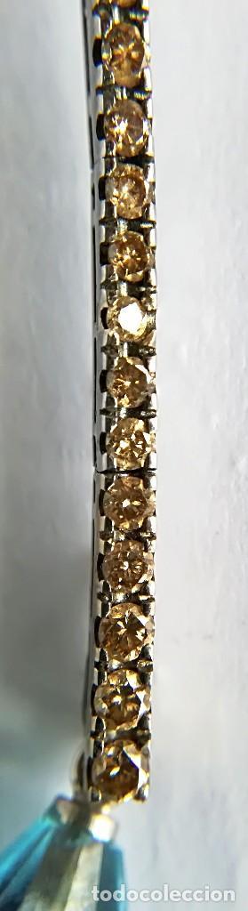 Joyeria: Vintage Pendientes Oro de 18K Diamantes y Topacio naturales - Foto 3 - 110705503