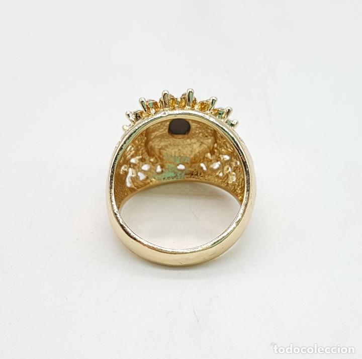 Joyeria: Anillo vintage tipo imperio con acabado en oro de 14k, amatista facetada y circonitas . - Foto 6 - 111278979