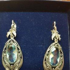Joyeria - Pendientes de plata con topacios azules, antiguos - 111547231