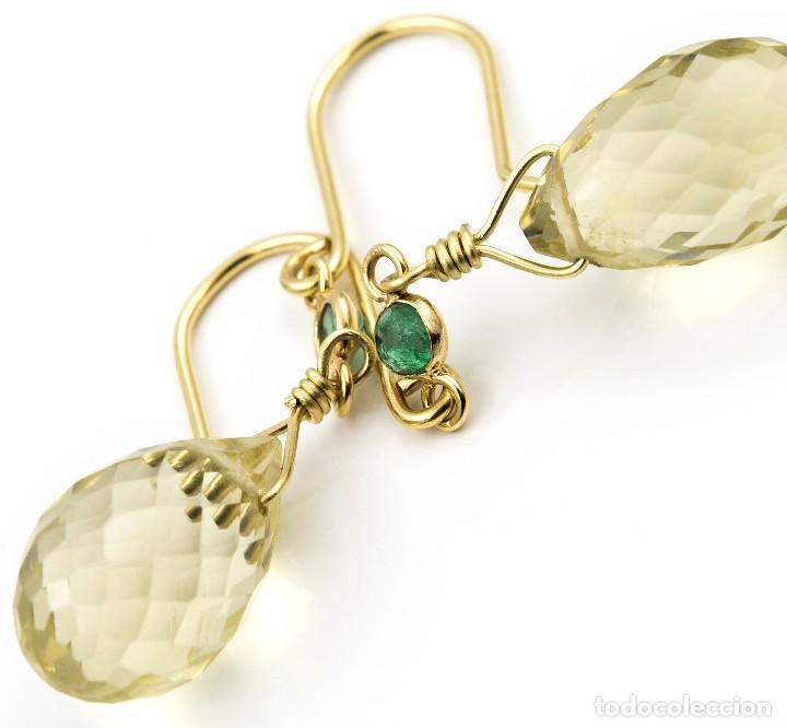 Joyeria: Pendientes Esmeralda y Cuarzo Limón en Oro de Ley 18k - Foto 3 - 111968415