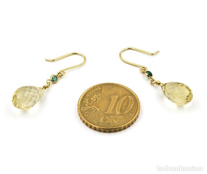 Joyeria: Pendientes Esmeralda y Cuarzo Limón en Oro de Ley 18k - Foto 5 - 111968415