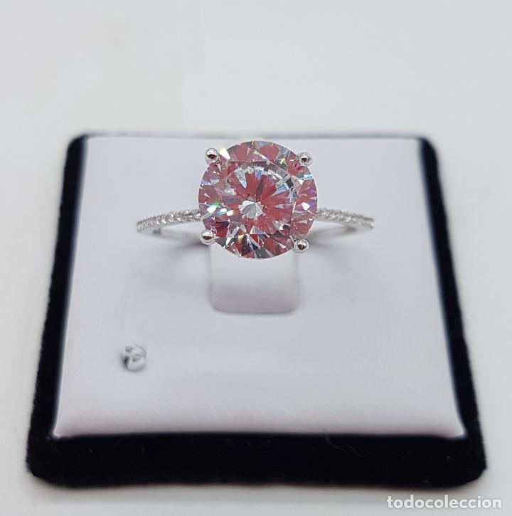 Joyeria: Precioso anillo solitario tipo pedida en plata de ley, pave de circonitas y circonita talla diamante - Foto 3 - 145010484