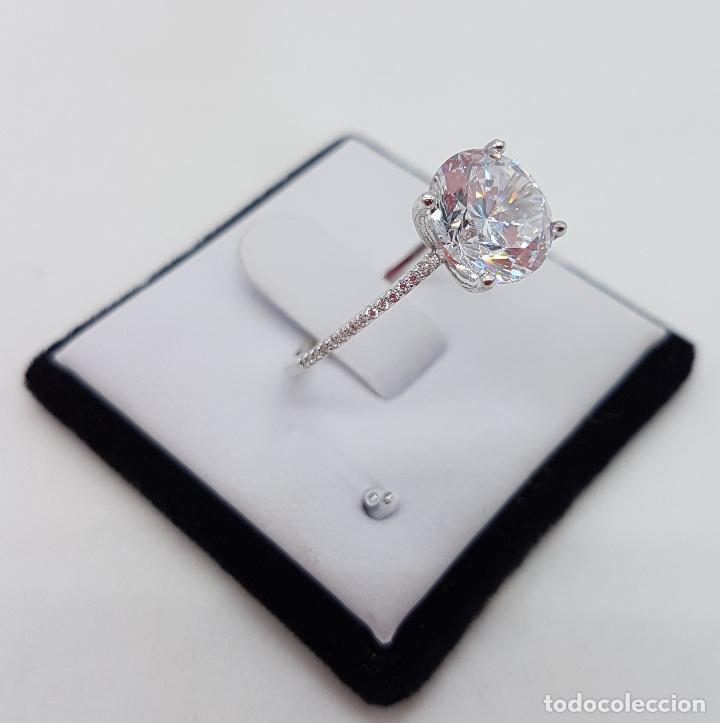 Joyeria: Precioso anillo solitario tipo pedida en plata de ley, pave de circonitas y circonita talla diamante - Foto 4 - 145010484